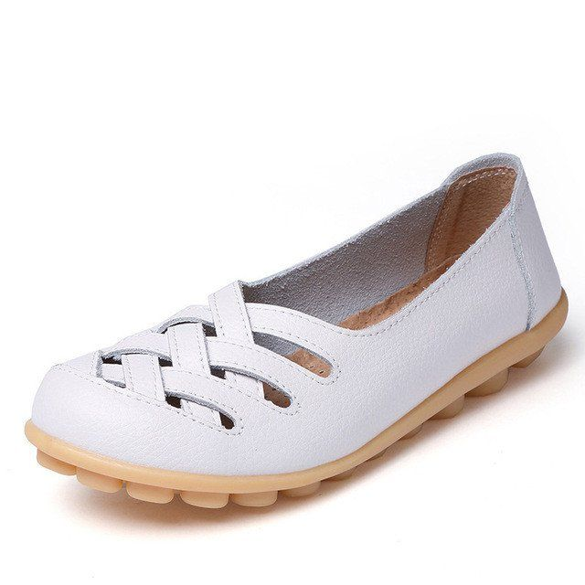 Clean White Casual Comfy Smooth Shoes with Lattice Hatched Upper - Com – Nodule Shoe