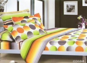 Orange Gray Green Yellow Polka Dot Printed Queen Comforter