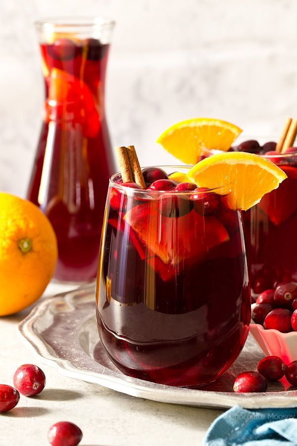 Make your next holiday cocktail an easy one with Cranberry Orange Sangria made with red wine, cranberry juice, and oranges.