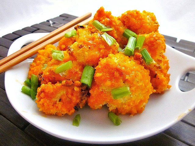 Baked Bang Bang Cauliflower - Baking much easier than the pan-fried version, and they came out just as described.  We used Thai sweet chili sauce and a dash of Sriracha; omitted the sugar.