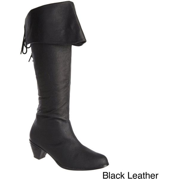 Pleaser Maiden Women's 2.5-inch Stack Heel Knee High Ladies' Pirate... ($65) ❤ liked on Polyvore featuring shoes, boots, pirate, pirate shoes, pleaser shoes, real leather knee high boots, leather pirate boots and knee length boots