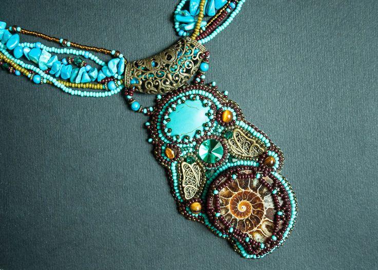 Ожерелье из аммонита Бирюзовый подвесной ожерелье