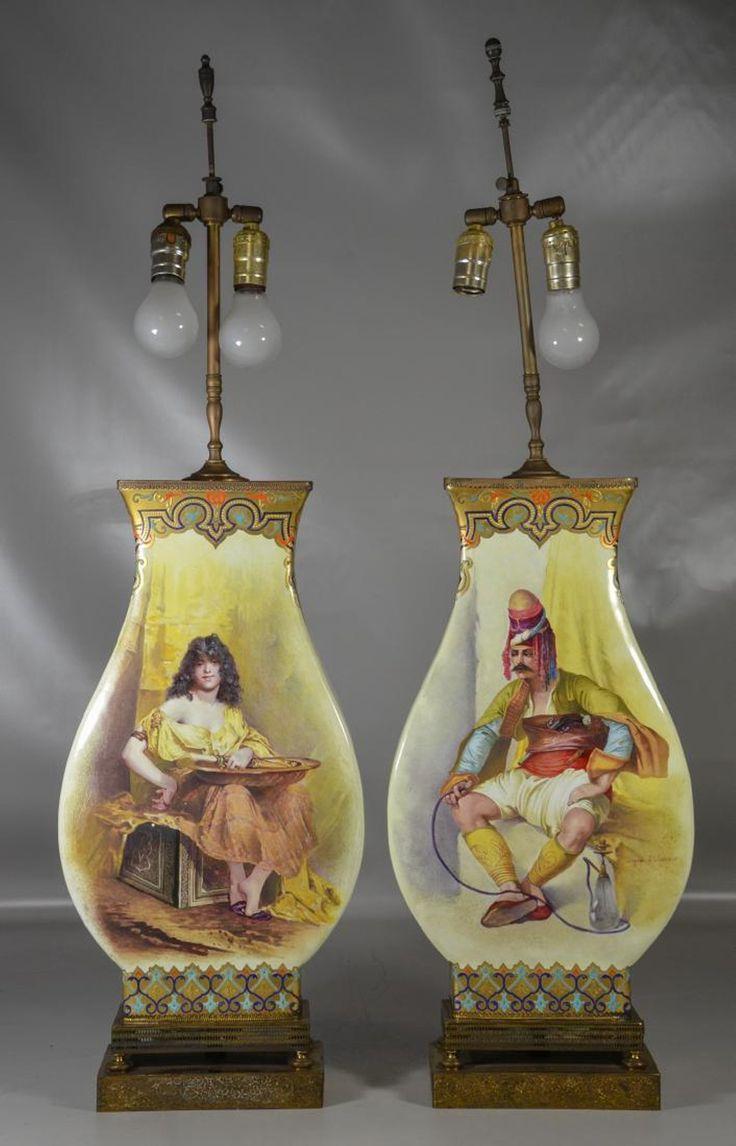 Pr of St Denis, France Orientalist Porcelain Vases