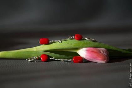 """Серьги ручной работы. Ярмарка Мастеров - ручная работа Серьги с кораллом """"Алый рассвет над бамбуковой рощей"""". Handmade."""