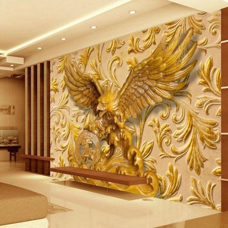 3D Golden Eagle Wall Mural Wallpaper Sticker