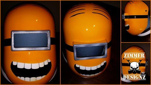 custom painted minions welding helmet