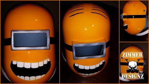 custom painted minions welding helmet