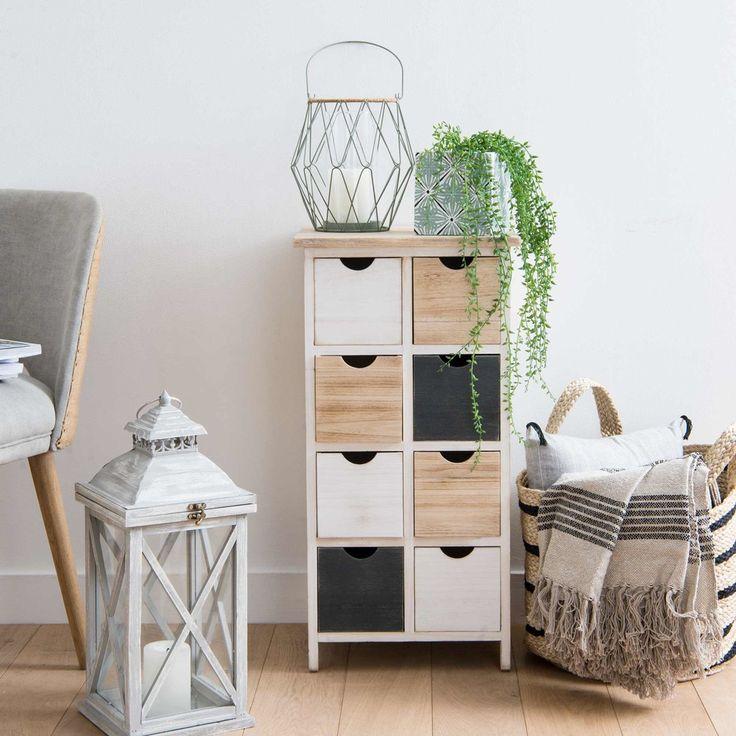 Petit meuble de rangement 8 tiroirs en paulownia | Maisons du Monde | Petit meuble rangement ...