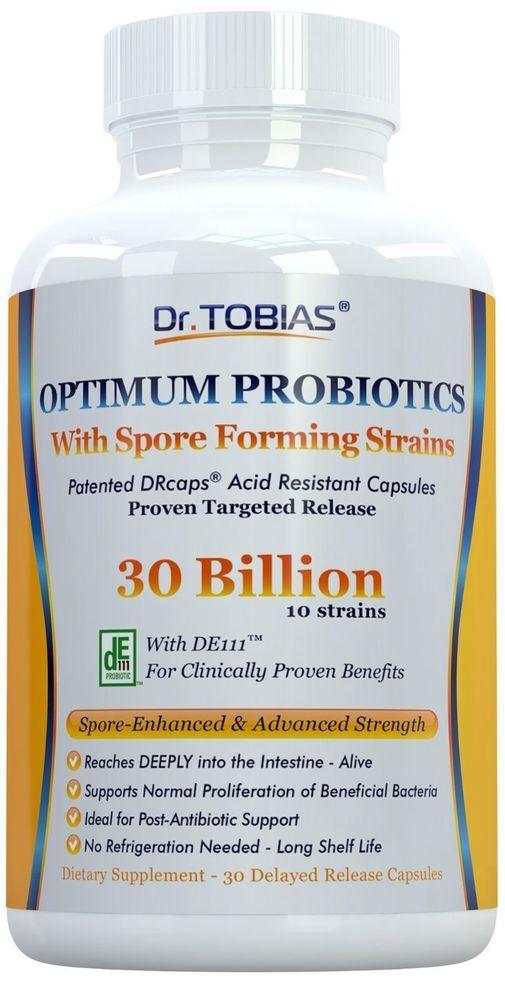 Dr. Tobias Probiotics: 30 Billion with Spore Forming Strains & Delay Release - & #DrTobias