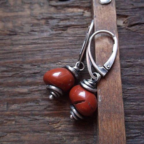 RUSTY-RED, jasper earrings, red jasper, sterling silver, russet earrings by pieceofmysoulArt on Etsy