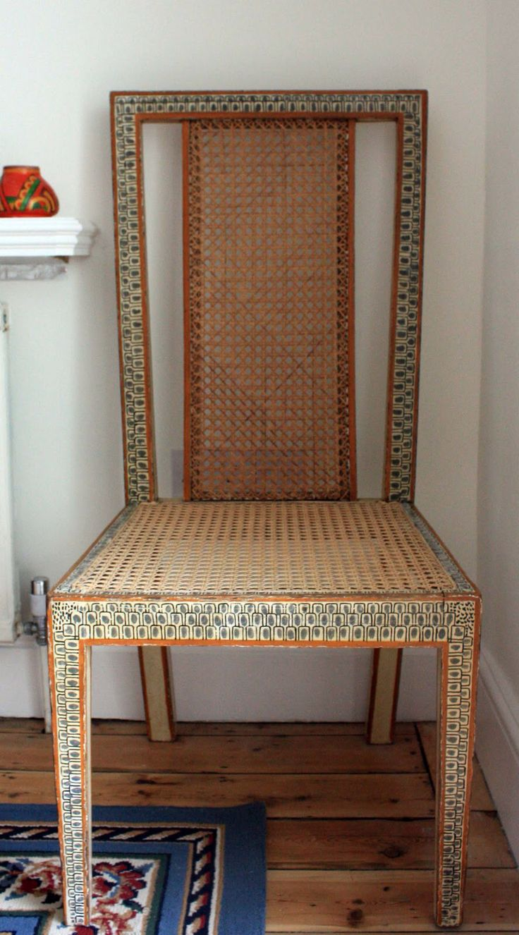 Roger Fry hand-painted caned dining chair