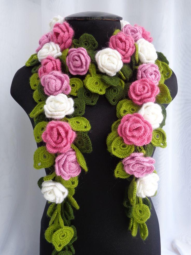 Как вязать цветочный шарф крючком. Часть 2.Урок вязания. How to tie a scarf with roses. - YouTube