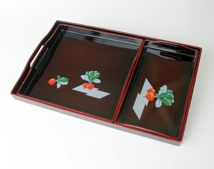 Asian Black Lacquer Serving Trays Set, Vintage Cocktail Trays, Hors d'Oeuvres Trays, Party Trays Set. by retrogroovie on Etsy