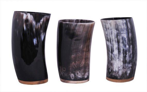Horn beaker beer mug Horn Beaker stein, tumbler viking ...