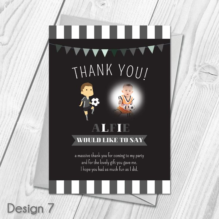 wording for party invitations uk%0A Personalised Football Party Thank You Cards   Childrens Football Party Theme