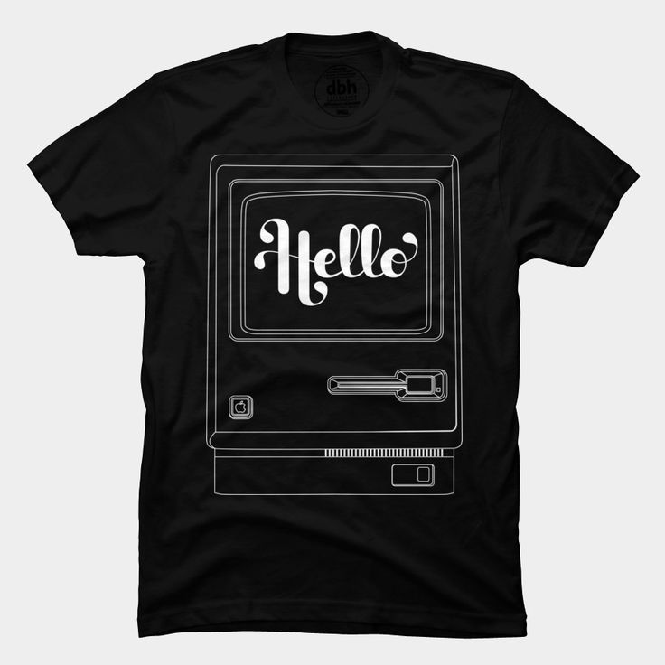 A classic design with a modern touch. Mac Hello t-shirt on Design by Humans http://goo.gl/T5dYNL