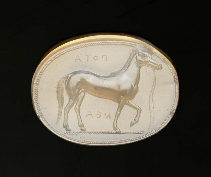 Scaraboid gem, A horse | Greek, 425 B.C. possibly by Dexamenos