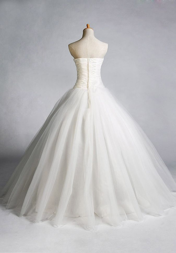 Easy tulle skirt pattern bride tulle strapless for Wedding dresses with tulle skirts