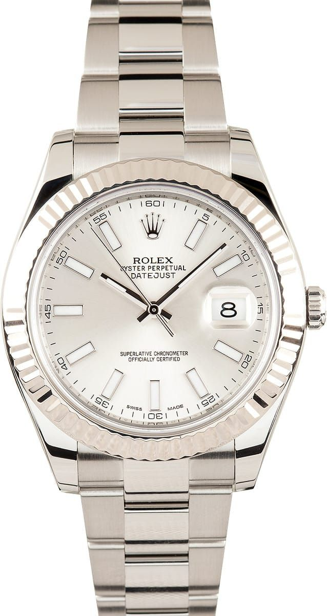 Manufacturer: Rolex   Model Name/Number: Datejust II 116334   Serial/Year: Random 2011 or newer   Grade: (What's This?) II   Gender: Men's   Features: Automatic 3136 movement w/ date, Quickset, scratch-resistant sapphire crystal, waterproof screw-down crown   Case: Stainless steel w/ 18k white gold fluted bezel(41mm), inner reflector ring engraved w/ serial number   Dial: Silverw/ luminous hour markers   Bracelet: Stainless Steel Oyster w/ Oysterlock clasp   Box