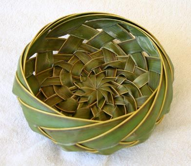 woven basket from palm fronds