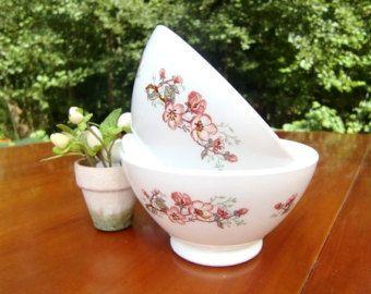 French vintage white bowls with pink floral decor café au lait bowl set of 2 arcopal
