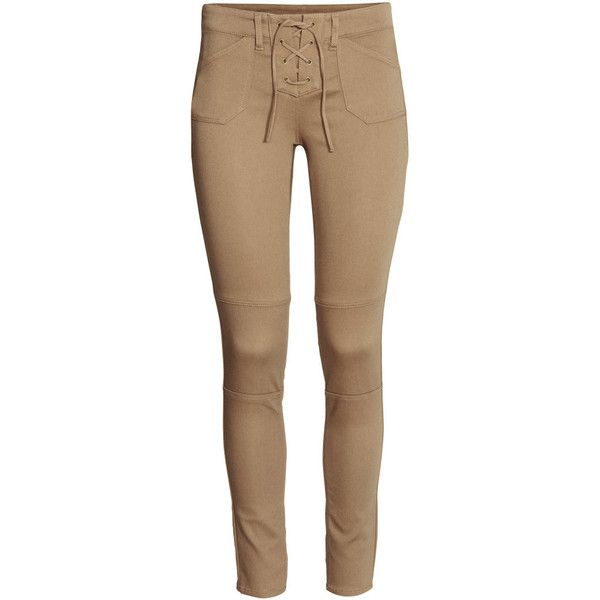 H&M Twill trousers with lacing ($23) ❤ liked on Polyvore featuring pants, h&m trousers, slim leg pants, h&m, brown twill pants and twill pants