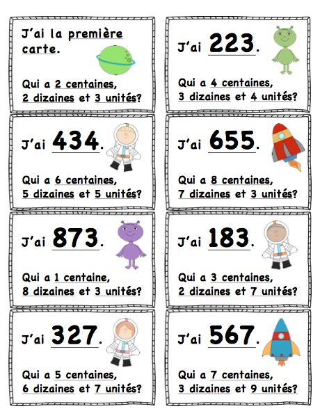 "$ ""J'ai...Qui A?"" Valeur de Position (L'Espace) 100-999 ""I Have...Who Has?"" Place Value (Space Themed) French or English and 0-99 Available!"