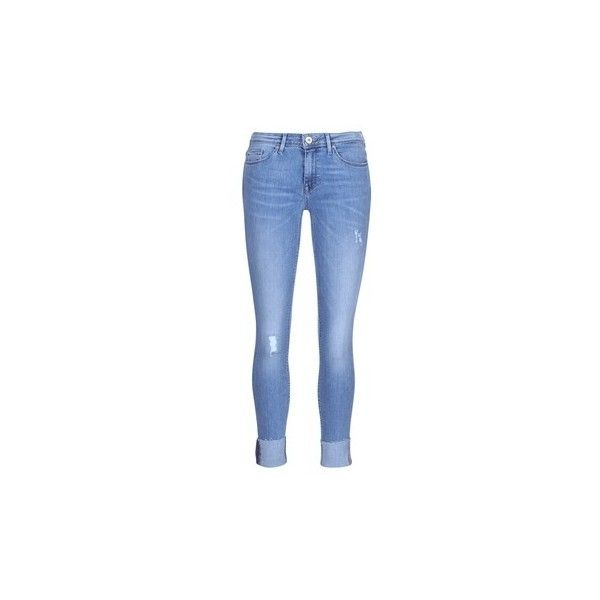 Only CARMEN Skinny Jeans (£35) ❤ liked on Polyvore featuring jeans, blue, trousers, women, cut skinny jeans, skinny leg jeans, skinny fit jeans, only jeans and skinny jeans