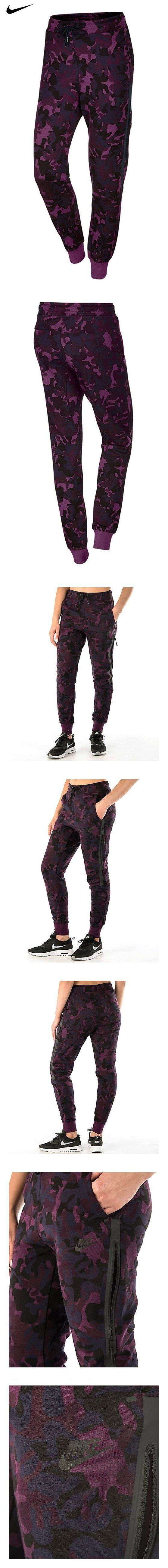 Nike Women's Tech Fleece Printed Cuffed Pants 695344 (Large, Purple Camo)