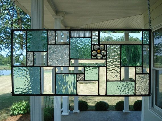 Stained Glass Panel Window Transom in Seafoam Green & Clear Bevels Made to Order  Please Allow 4 Weeks    This stained glass panel was designed and
