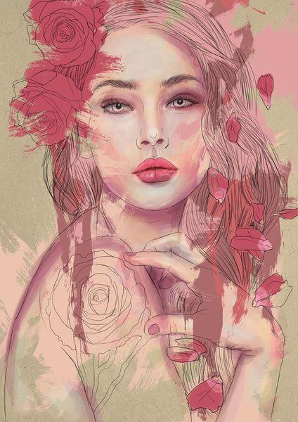 Chelsea Hantken #art #illustration #digital #painting #girl #pink #rose #love #thorn