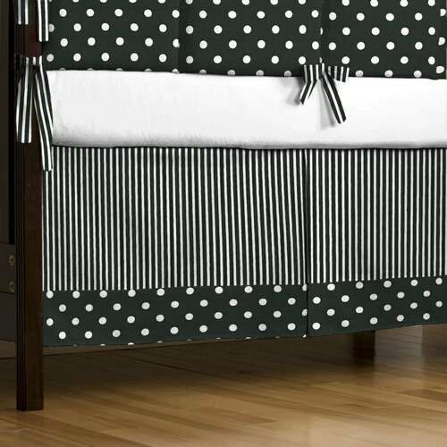 Black and White Dots and Stripes Crib Skirt Box-Pleat with Trim | Gender Neutral Black and White Crib Dust Ruffle | Carousel Designs $127