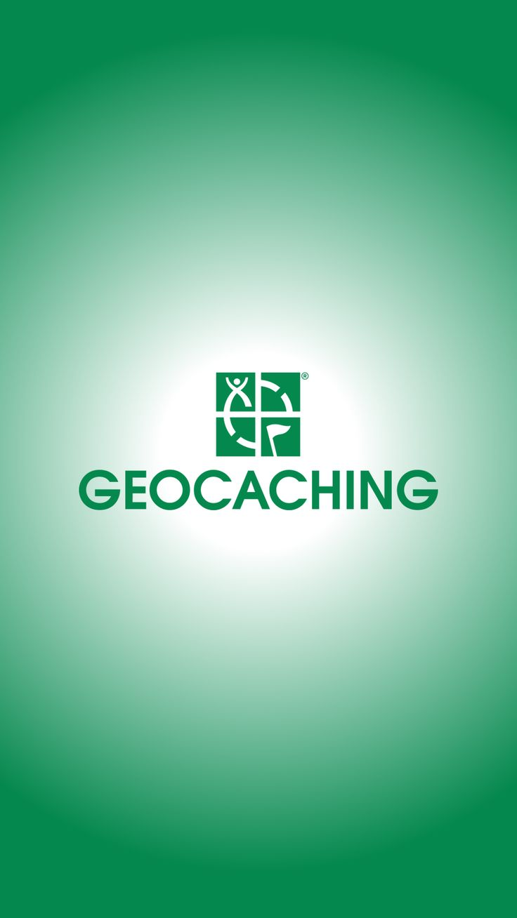 Wallpaper of the geocaching logo, white radial behind the green logo. geocaching.com