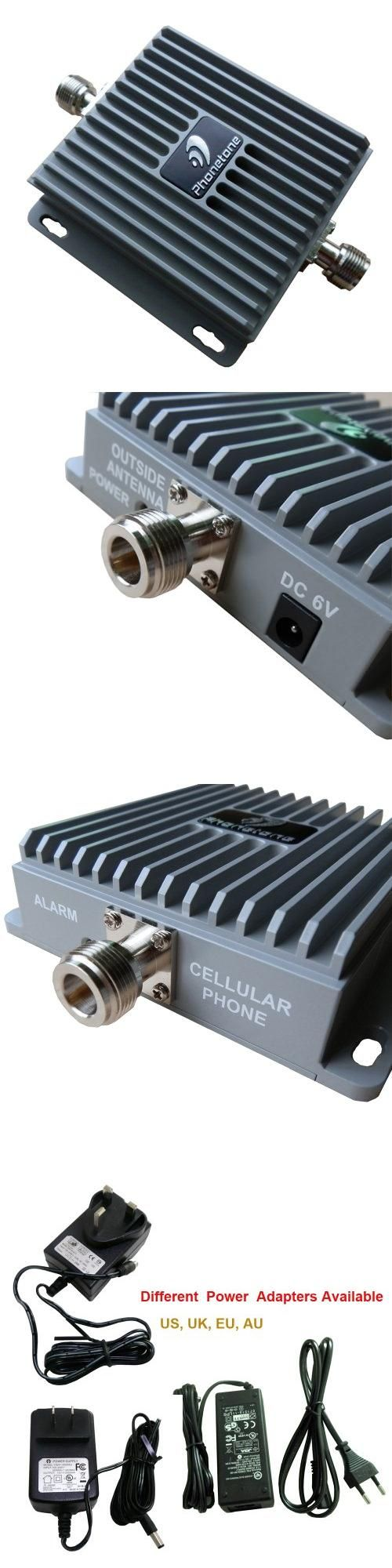 Standalone High Gain 65dB GSM WCDMA 850MHz/2100MHz Mobile Cell Phone Signal Booster/Repeater Amplifier Frequency Range :824-849MHz/1920-1980MHz,869-894MHz/2110-2170MHz. Standard Supported : CDMA, WCDMA, GSM, EDGE, TDMA and AMPS etc.. Max. Gain (dB) :65dB. I/O Port : N-Female on both ends. Power Supply : AC100~240V 50/60Hz 1A; DC 6V/2.5A.  #Phonetone #Wireless