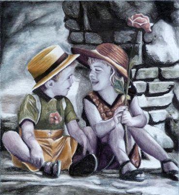 Színes ceruzával készült, 2 gyereket ábrázoló rajz - szénceruza