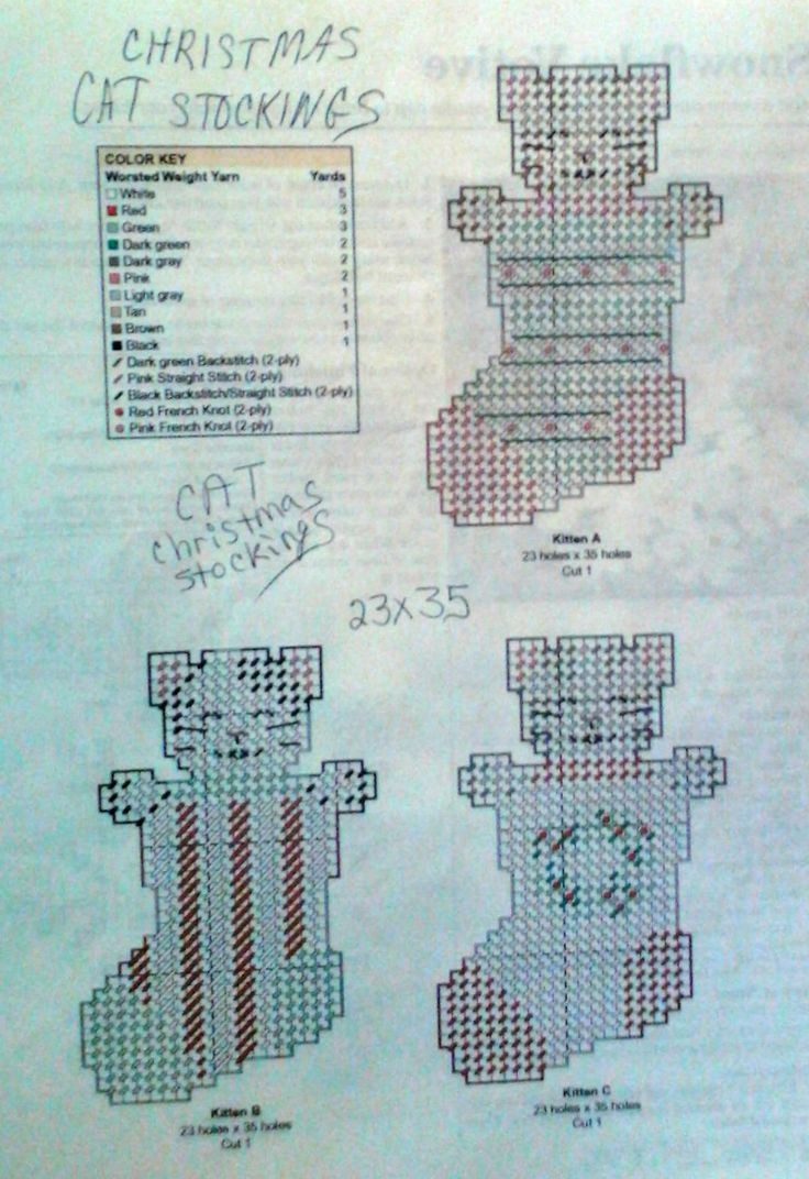 Cat Christmas stockings pattern plastic canvas 2-2