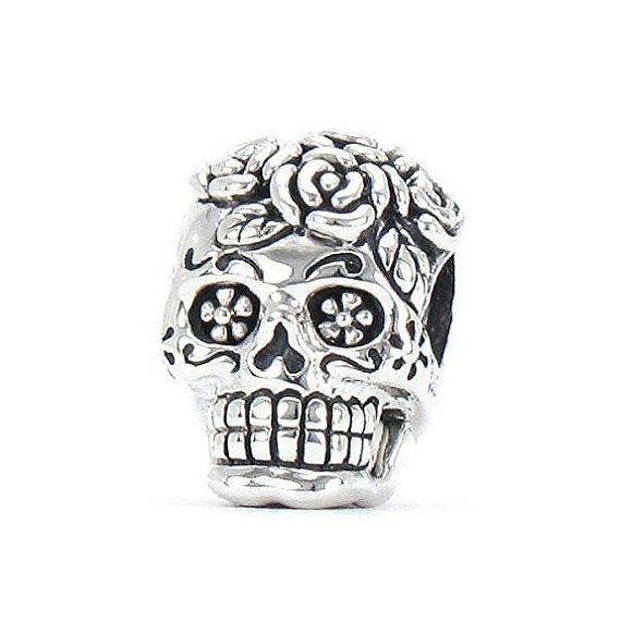 925 Silver Gold Plated Dia De Los Muertos Skeleton Skull Eye Charms Beads Fit Pandora Bracelet FIHrfDU