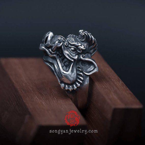 Anillo de plata de jabalí, acabado envejecido, plata de ley 925, plata oxidada, anillo de hombre, joyería Songyan   – Products