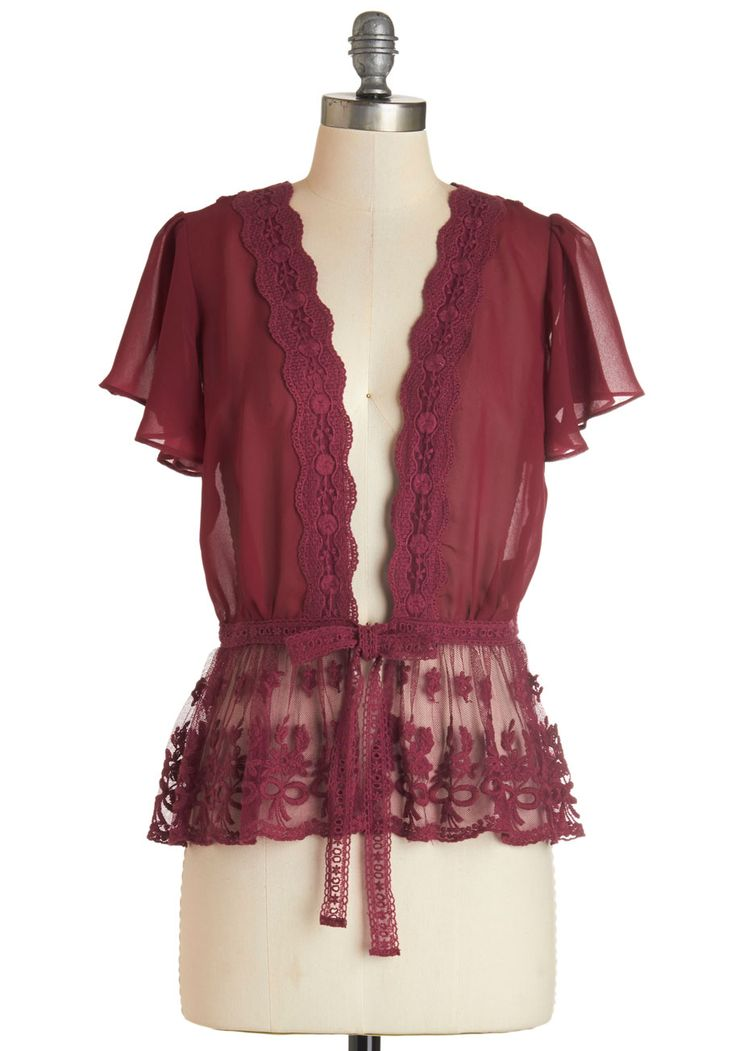 To Quiche Their Own Cardigan in Berry. Wearing this lacy, berry-red cardigan to brunch is a smart choice. #red #modcloth