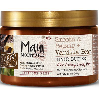 Maui Moisture Smooth & Repair + Vanilla Bean Hair Butter starts with a unique blend with aloe vera juice and infused with pure coconut water, unlike some other hair butters that start with deionized water as their first ingredient listed. Kukui nut oil is an ancient Hawaiian secret used for its humidity resistant abilities, and is blended into this hydrating hair butter, as well as rich vanilla bean and creamy cocoa butter.