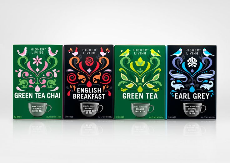 Packaging with illustrative detail designed by B&B Studio for UK herbal tea company brand Higher Living