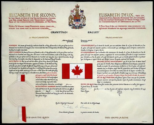 The Proclamation of the Canadian Flag  [The Proclamation of the National Flag of Canada / La Proclamation du drapeau national du Canada]