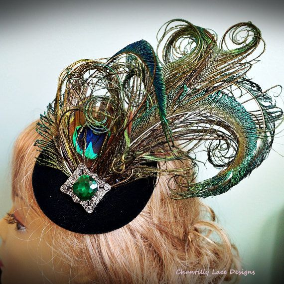 Green Velvet Peacock Feather Emerald by ChantillyLaceDesigns