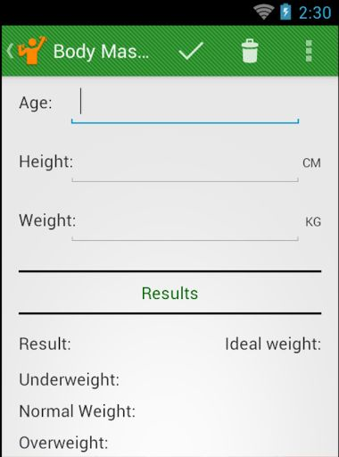 The Salus - Fitness Calculator is a free app to help you to get the best results from your diet and workout routine by giving you orientations about your body measure and how to get a life with more health.<p>By using the Salus - Fitness Calculator you'll