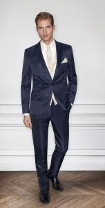 Dark blue wedding suit for the groom