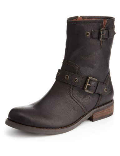 Indigo Collection Leather Twin Buckle Biker Boots with Insolia Flex® - Marks & Spencer