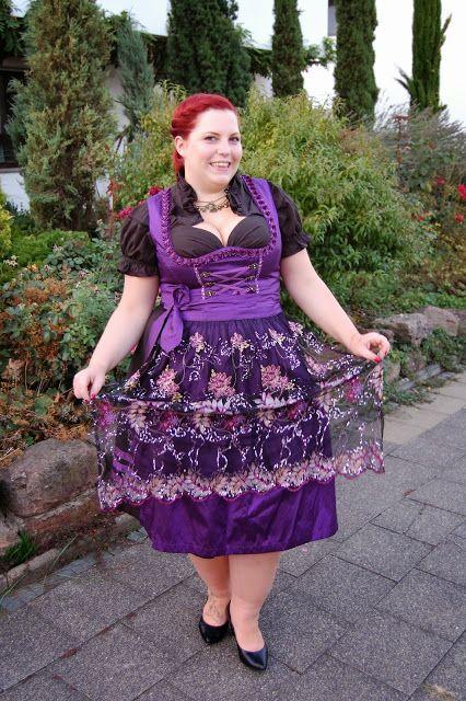 Curvy Sequins - Plus Size Outfit & Nail Design Blog: September 2013. Steffi (Stephanie) models a dirndl by Alpenwelt. -- plus size curvy dress