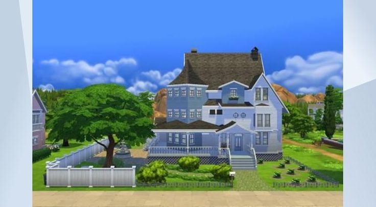 Check out this lot in The Sims 4 Gallery! - #furnished #blue #white #traditional #american #wood #house #music #pool #garden #big #family #attic