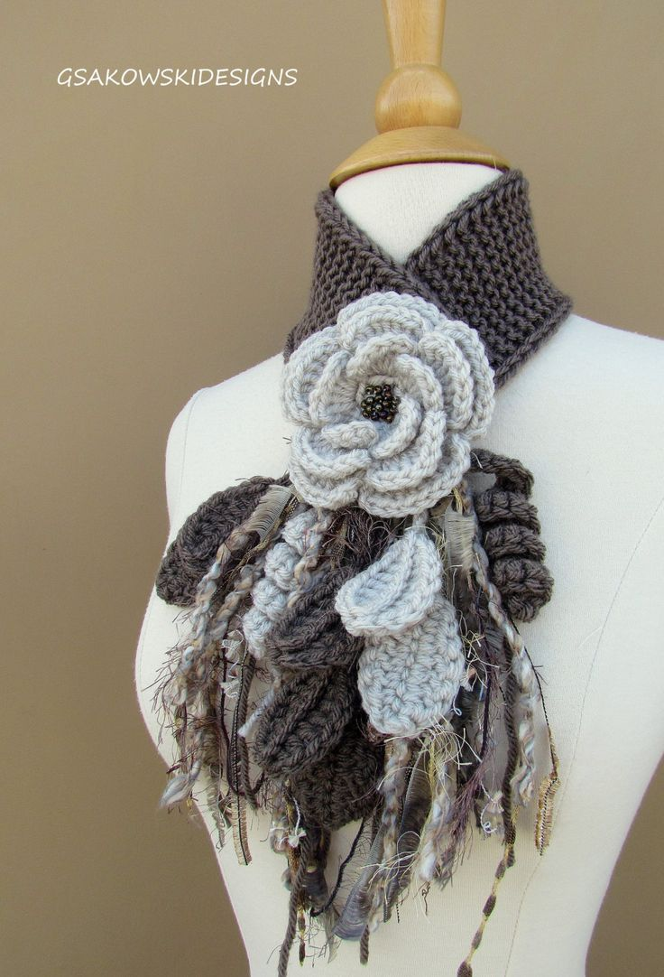 Linen Flower Scarflette by gsakowskidesigns on Etsy, $41.00