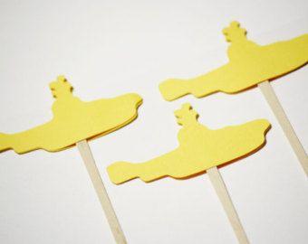 Yellow Submarine,  Beatles Inspired Cupcake Toppers/ Food Picks - dozen